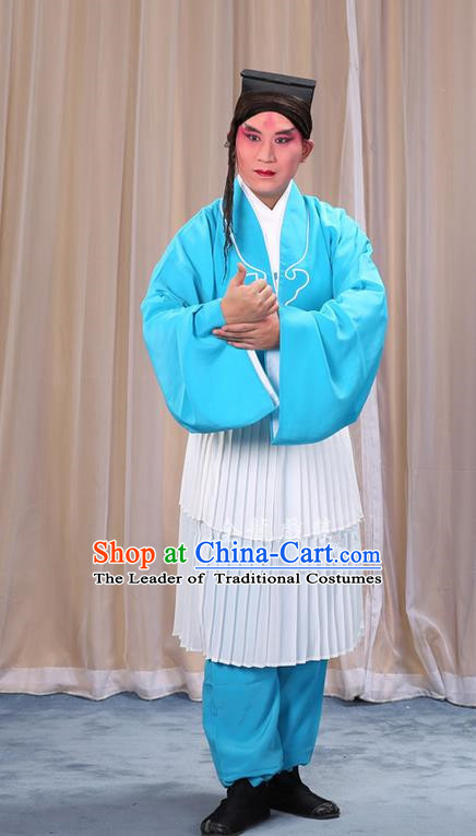 Traditional Chinese Beijing Opera Clown Light Blue Clothing and Shoes Headwear Complete Set, China Peking Opera Miscellaneous Affairs Costume Opera Wu Dalang Costumes