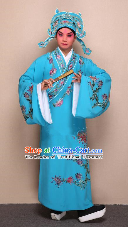 Traditional Chinese Beijing Opera Niche Blue Dress Clothing Complete Set, China Peking Opera Young Man Costume Embroidered Chrysanthemum Robe Opera Costumes