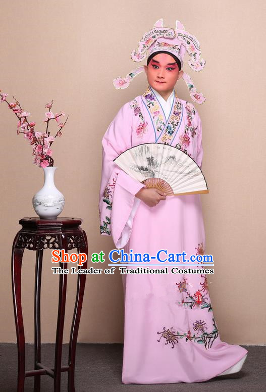 Traditional Chinese Beijing Opera Niche Pink Dress Clothing Complete Set, China Peking Opera Young Man Costume Embroidered Chrysanthemum Robe Opera Costumes