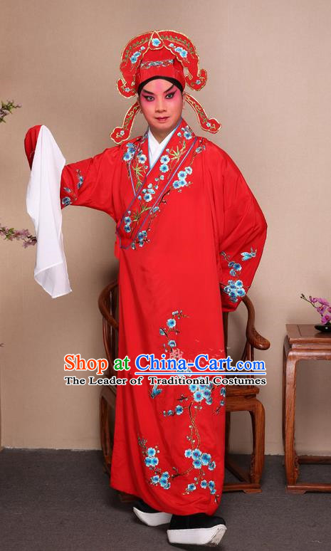 Traditional Chinese Beijing Opera Niche Red Dress Clothing Complete Set, China Peking Opera Young Man Costume Embroidered Plum Blossom Robe Opera Costumes