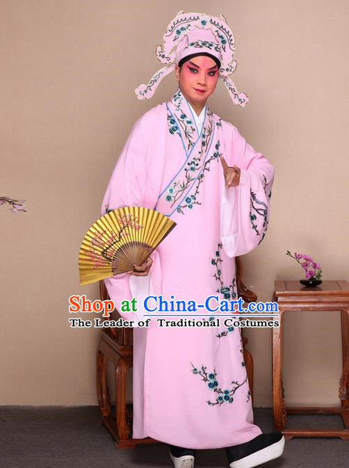 Traditional Chinese Beijing Opera Niche Pink Dress Clothing Complete Set, China Peking Opera Young Man Costume Embroidered Plum Blossom Robe Opera Costumes
