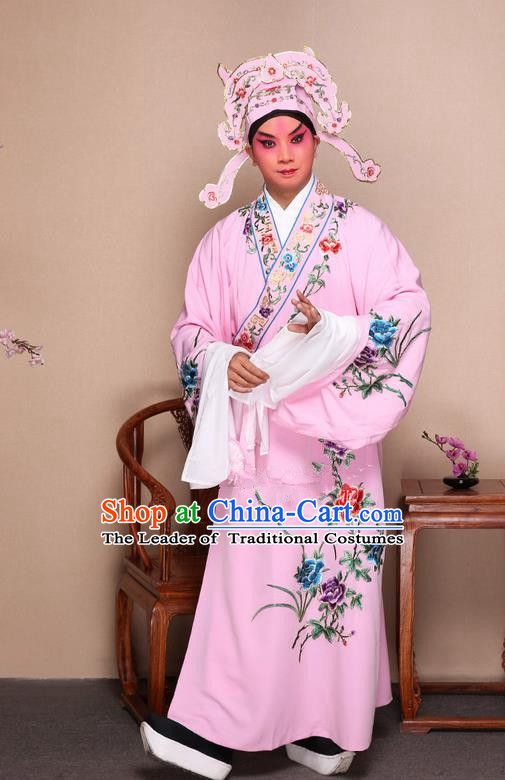 Traditional Chinese Beijing Opera Niche Pink Dress Clothing and Boots Fan Complete Set, China Peking Opera Gifted Youth Man Costume Embroidered Robe Opera Costumes