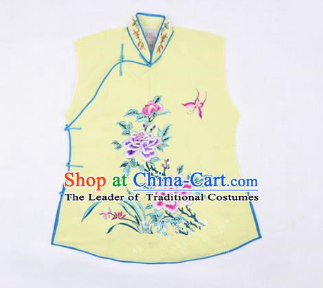 Traditional Chinese Beijing Opera Servant Girl Yellow Vests, China Peking Opera Young Lady Costume Embroidered Opera Waistcoat Costumes