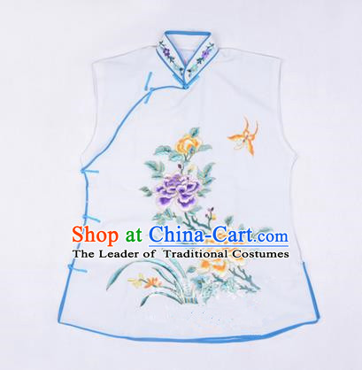 Traditional Chinese Beijing Opera Servant Girl White Vests, China Peking Opera Young Lady Costume Embroidered Opera Waistcoat Costumes