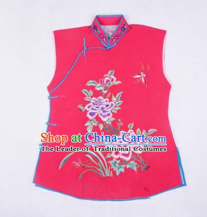 Traditional Chinese Beijing Opera Servant Girl Rosy Vests, China Peking Opera Young Lady Costume Embroidered Opera Waistcoat Costumes