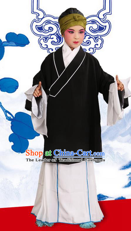 Traditional Chinese Beijing Opera Old Female Black Clothing and Shoes Complete Set, China Peking Opera Children Pantaloon Costume Embroidered Clothing Opera Costumes for Kids