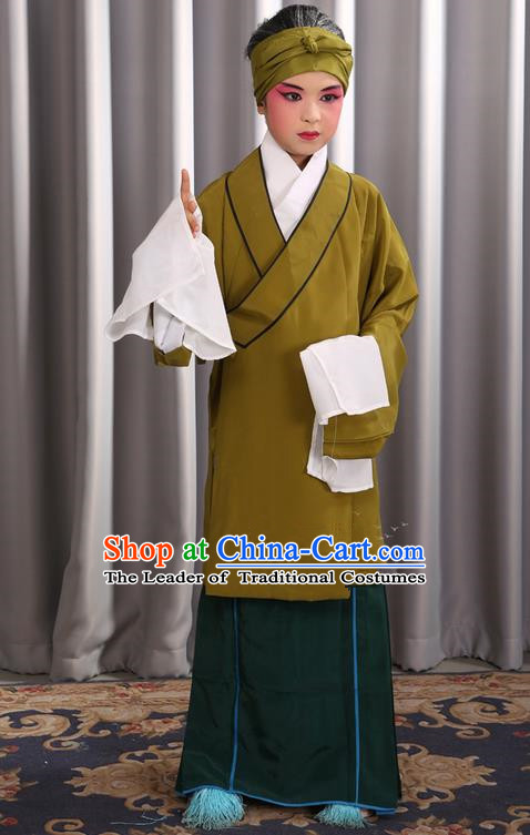 Traditional Chinese Beijing Opera Old Female Green Clothing and Shoes Complete Set, China Peking Opera Children Pantaloon Costume Embroidered Clothing Opera Costumes for Kids