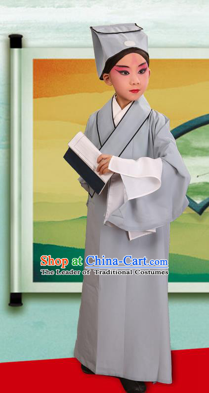 Traditional Chinese Beijing Opera Children Scholar Grey Clothing and Headwear Shoes Complete Set, China Peking Opera Young Man Costume Xu Xian Robe Opera Costumes for Kids