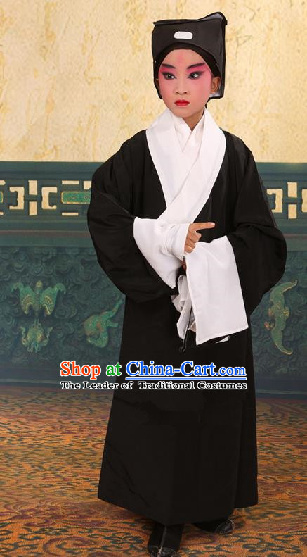 Traditional Chinese Beijing Opera Children Scholar Black Clothing and Headwear Shoes Complete Set, China Peking Opera Young Man Costume Xu Xian Robe Opera Costumes for Kids
