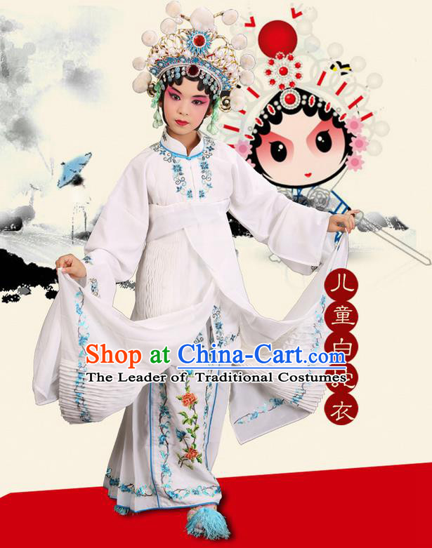 Traditional Chinese Beijing Opera Young Female Clothing and Headwear Boots Complete Set, China Peking Opera Madam White Snake Costume Embroidered Robe Opera Costumes for Kids