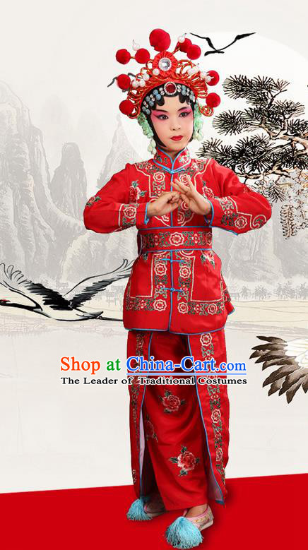 Traditional Chinese Beijing Opera Magic Warriors Red Clothing and Shoes Complete Set, China Peking Opera Women Pawn Dress Costume Embroidered Opera Costumes for Kids