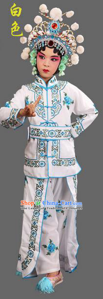 Traditional Chinese Beijing Opera Magic Warriors White Clothing and Shoes Complete Set, China Peking Opera Women Pawn Dress Costume Embroidered Opera Costumes for Kids