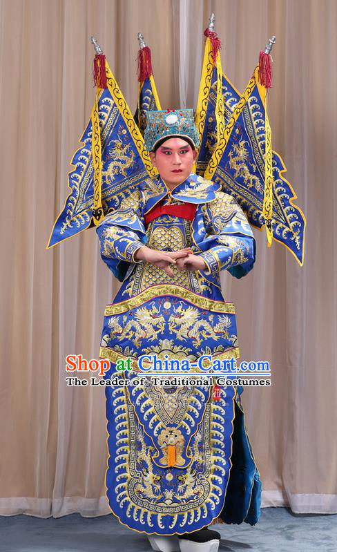 Traditional Chinese Beijing Opera Takefu Green Armour Blue Clothing and Boots Complete Set, China Peking Opera Martial General Role Costume Embroidered Opera Costumes