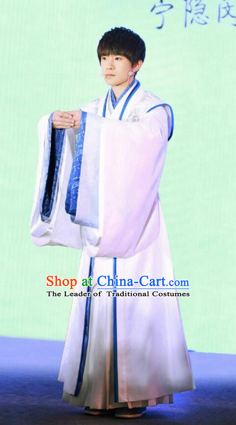 Traditional Chinese Ancient Warring States Time Qu Yuan Costume, Song of Phoenix Chu Dynasty Scholar Clothing and Handmade Headpiece Complete Set for Men
