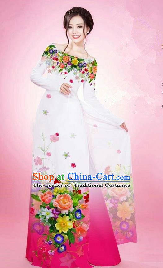 Traditional Top Grade Asian Vietnamese Ha Festival Printing Flowers White Ao Dai Dress, Vietnam National Jing Nationality Off Shoulder Cheongsam Costumes for Women