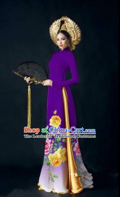 Traditional Top Grade Asian Vietnamese Ha Festival Printing Bride Ao Dai Dress, Vietnam National Jing Nationality Cheongsam Costumes for Women