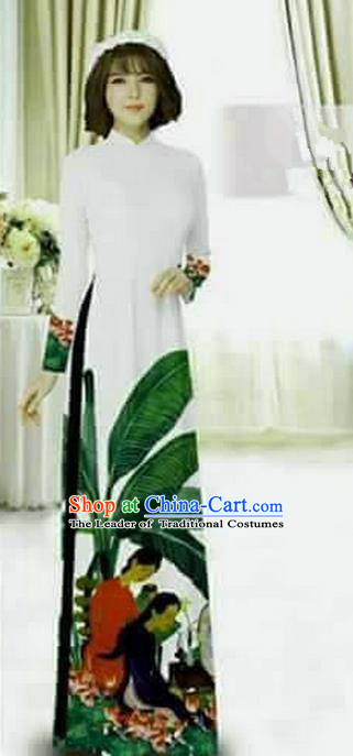 Traditional Top Grade Asian Vietnamese Ha Festival Printing Bride Ao Dai Dress and Loose Pants, Vietnam National Jing Nationality Cheongsam Costumes for Women