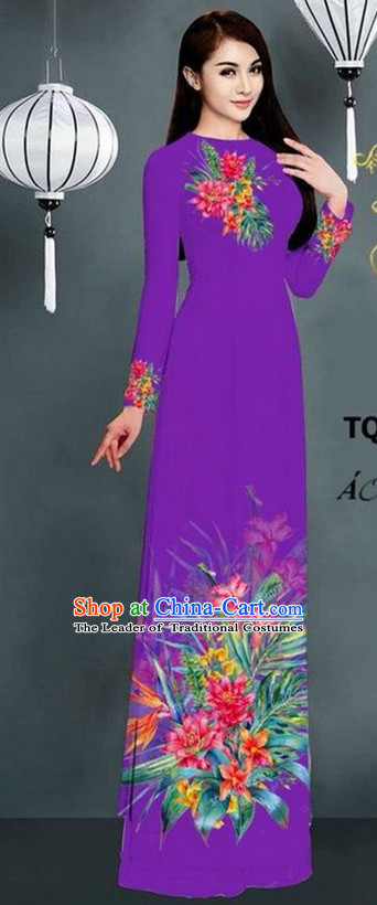 Traditional Top Grade Asian Vietnamese Ha Festival Printing Model Ao Dai Dress, Vietnam National Jing Nationality Purple Cheongsam Costumes for Women