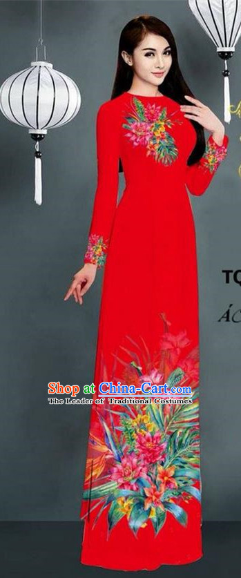 Traditional Top Grade Asian Vietnamese Ha Festival Printing Model Ao Dai Dress, Vietnam National Jing Nationality Red Cheongsam Costumes for Women