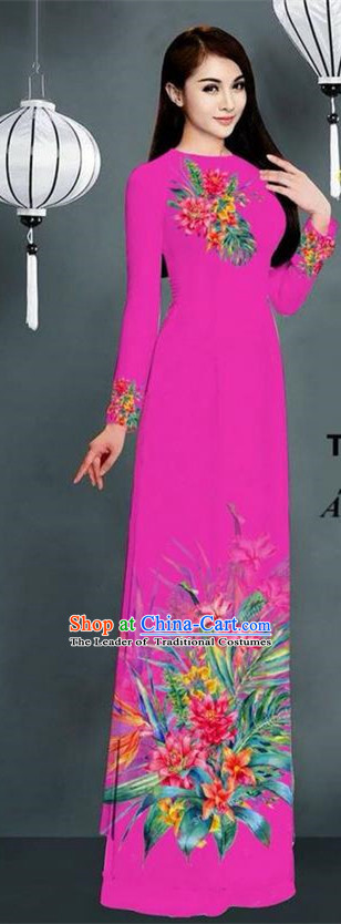 Traditional Top Grade Asian Vietnamese Ha Festival Printing Model Ao Dai Dress, Vietnam National Jing Nationality Plum Color Cheongsam Costumes for Women