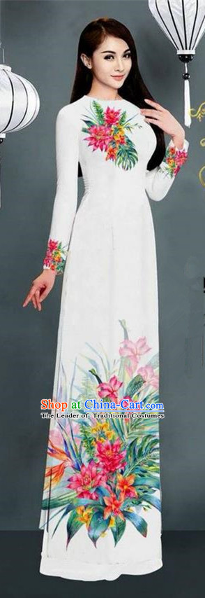 Traditional Top Grade Asian Vietnamese Ha Festival Printing Model Ao Dai Dress, Vietnam National Jing Nationality White Cheongsam Costumes for Women