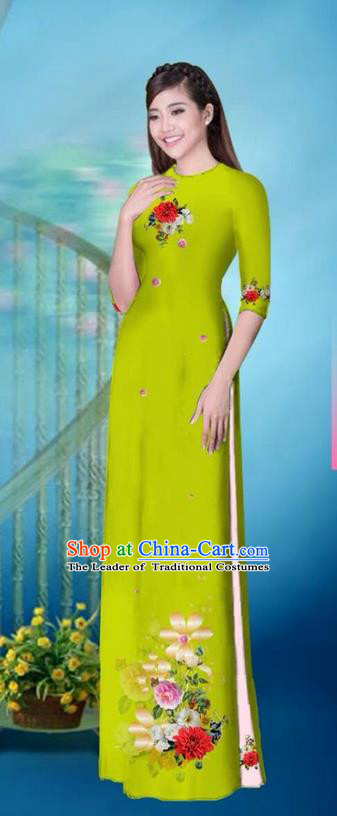 Traditional Top Grade Asian Vietnamese Ha Festival Printing Model Ao Dai Dress, Vietnam National Jing Nationality Princess Green Cheongsam Costumes for Women