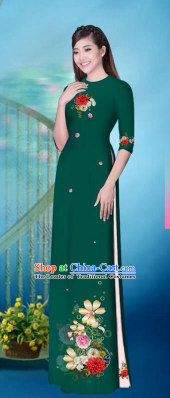 Traditional Top Grade Asian Vietnamese Ha Festival Printing Model Ao Dai Dress, Vietnam National Jing Nationality Princess Deep Green Cheongsam Costumes for Women