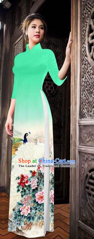 Traditional Top Grade Asian Vietnamese Ha Festival Printing Peony Light Green Ao Dai Dress, Vietnam National Jing Nationality Princess Cheongsam Costumes for Women