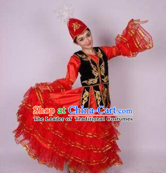 Traditional Chinese Kazak Nationality Dancing Costume, Folk Dance Ethnic Clothing, Chinese Hazak Minority Nationality Dance Dress for Women