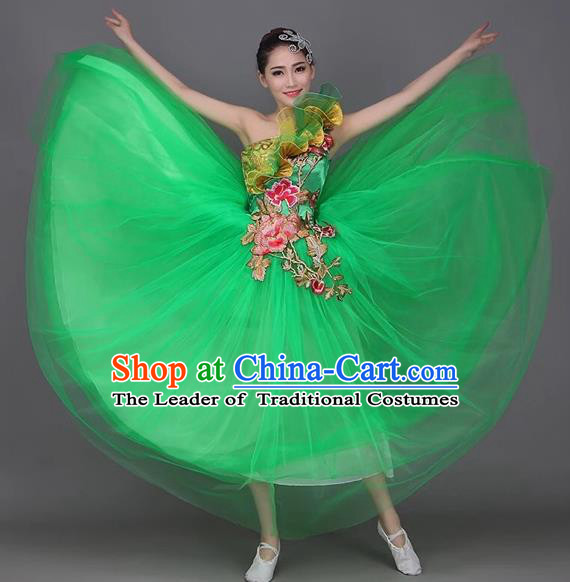 Top Grade Compere Professional Performance Costume, Chorus Formal Dress Modern Dance Green Bubble Dress for Women