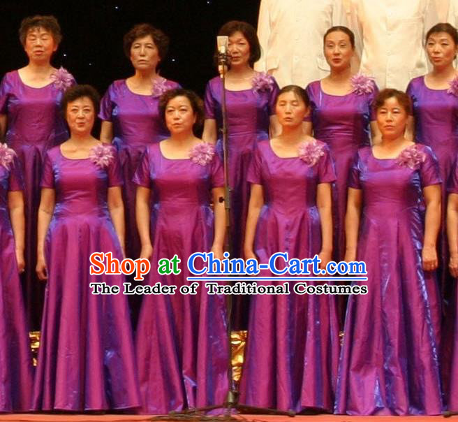 Top Grade Compere Professional Compere Costume, Chorus Formal Dress Modern Dance Purple Long Dress for Women