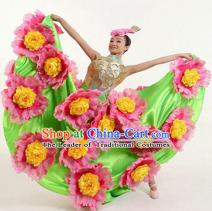 Top Grade Compere Professional Compere Costume, Chorus Flowers Dress Modern Opening Dance Big Swing Green Dress for Women
