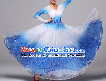 Top Grade Compere Professional Compere Costume, Chorus Dress Modern Opening Dance Big Swing Blue Dress for Women