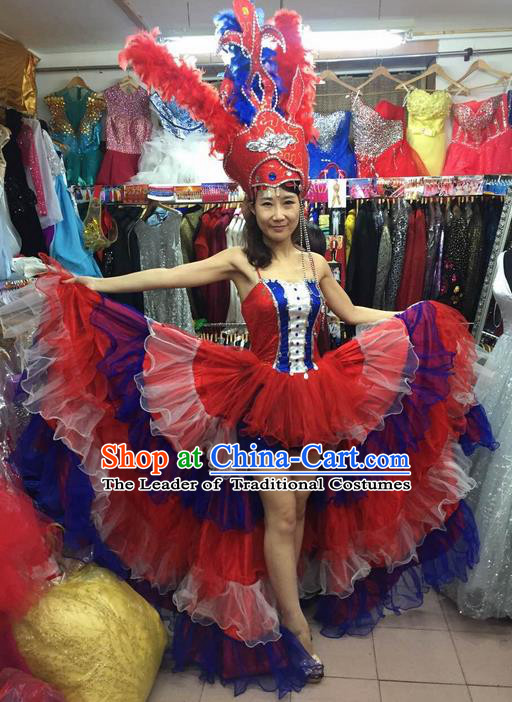 Top Grade Compere Professional Compere Costume, Chorus Dress Modern Opening Dance Big Swing Red Dress for Women
