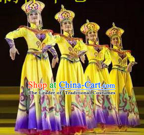 Traditional Chinese Mongol Nationality Dancing Costume, Mongols Female Folk Dance Ethnic Dress, Chinese Mongolian Minority Nationality Embroidery Clothing for Women