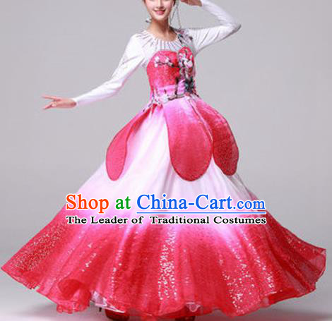 Top Grade Compere Professional Compere Costume, Ballroom Dance Dress Opening Dance Lotus Dance Big Swing Pink Dress for Women