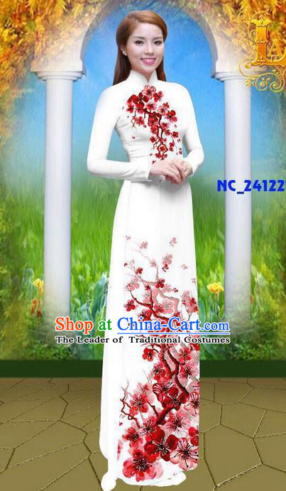 Traditional Top Grade Asian Vietnamese Ha Festival 3D Printing Azalea Bride Ao Dai Dress, Vietnam National Jing Nationality Princess Cheongsam Costumes for Women