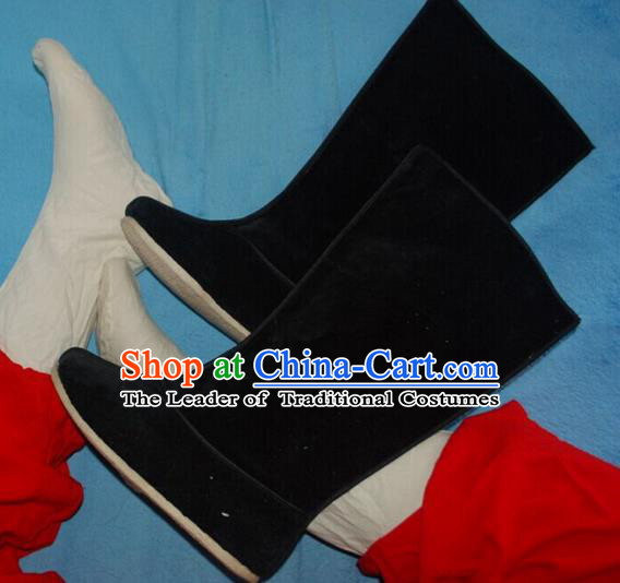 Traditional Chinese Peking Opera Shoes, China Ancient Eunuch Boots, Chinese Qing Dynasty Minister Black Cloth Boots for Men