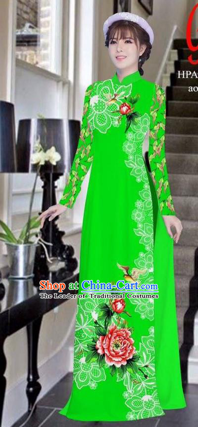 Traditional Top Grade Asian Vietnamese Ha Festival Bride Printing Peony Green Ao Dai Dress, Vietnam Women National Jing Nationality Princess Cheongsam Costumes