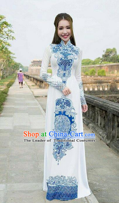 Traditional Top Grade Asian Vietnamese Ha Festival Printing Ao Dai Dress, Vietnam Women National Jing Nationality Princess Blue and White Porcelain Cheongsam Bride Costumes