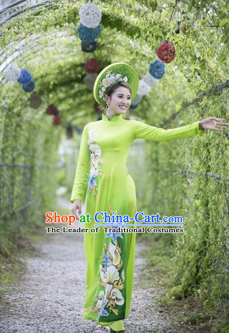 Traditional Top Grade Asian Vietnamese Ha Festival Printing Ao Dai Dress, Vietnam Women National Jing Nationality Princess Green Cheongsam Bride Costumes