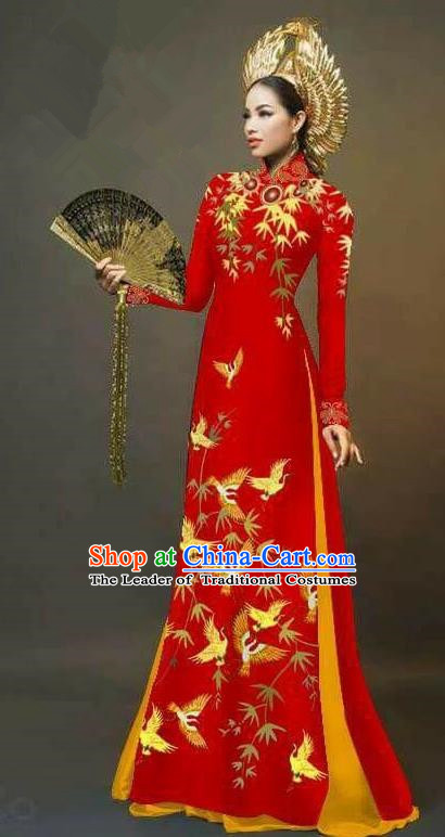 Traditional Top Grade Asian Vietnamese Ha Festival Printing Cranes Ao Dai Dress, Vietnam Women National Jing Nationality Queen Red Cheongsam Bride Costumes