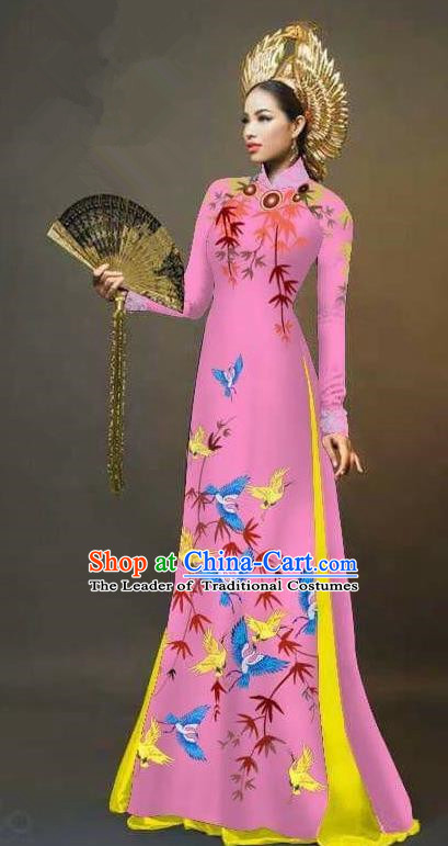 Traditional Top Grade Asian Vietnamese Ha Festival Printing Cranes Ao Dai Dress, Vietnam Women National Jing Nationality Queen Pink Cheongsam Bride Costumes