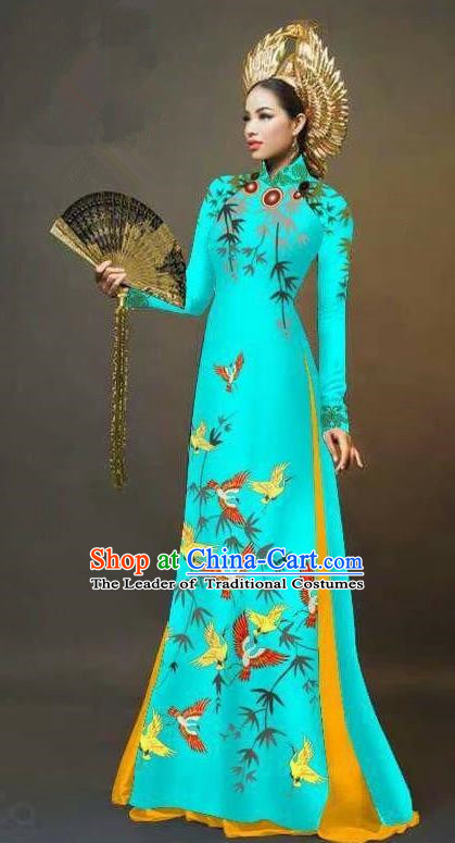 Traditional Top Grade Asian Vietnamese Ha Festival Printing Cranes Ao Dai Dress, Vietnam Women National Jing Nationality Queen Blue Cheongsam Bride Costumes