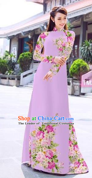 Traditional Top Grade Asian Vietnamese Ha Festival Printing Flowers Lilac Ao Dai Dress, Vietnam Women National Jing Nationality Princess Cheongsam Bride Costumes