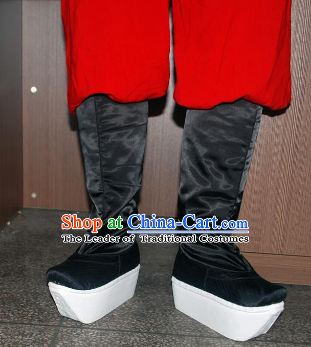 Traditional Chinese Peking Opera Shoes, China Ancient Officer Boots, Chinese Qing Dynasty Minister Buskin Boots for Men