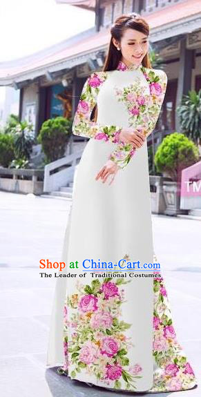 Traditional Top Grade Asian Vietnamese Ha Festival Printing Flowers White Ao Dai Dress, Vietnam Women National Jing Nationality Princess Cheongsam Bride Costumes