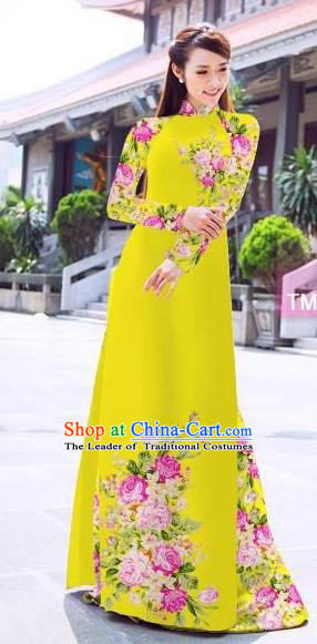 Traditional Top Grade Asian Vietnamese Ha Festival Printing Flowers Yellow Ao Dai Dress, Vietnam Women National Jing Nationality Princess Cheongsam Bride Costumes
