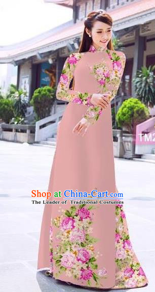 Traditional Top Grade Asian Vietnamese Ha Festival Printing Flowers Pink Ao Dai Dress, Vietnam Women National Jing Nationality Princess Cheongsam Bride Costumes