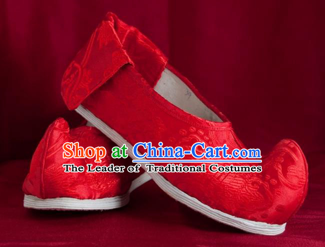 Traditional Chinese Peking Opera Shoes, China Ancient Bride Handmade Red Shoes, Chinese Tang Dynasty Princess Embroidered Cloth Shoes for Women